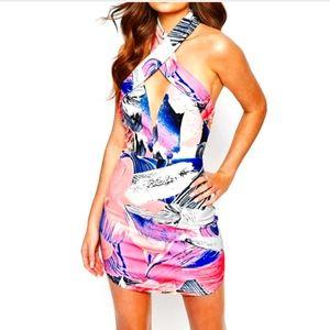 Ginger Fizz Plunge Bodycon Halter Dress